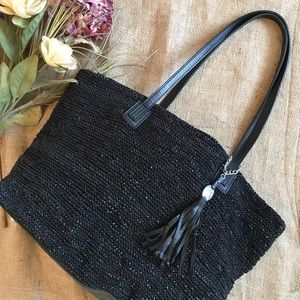 Olivia Harris Colombier Knit Leather Tote